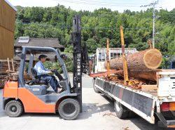 原木を搬入